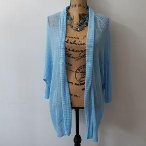 Alfani Linen Blend Blue Knit Cardigan Kimono